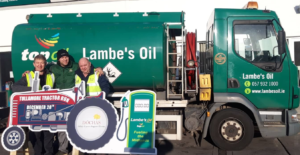 Lambes Oil Driver with sponsored sign for Tullamore Tractor Run